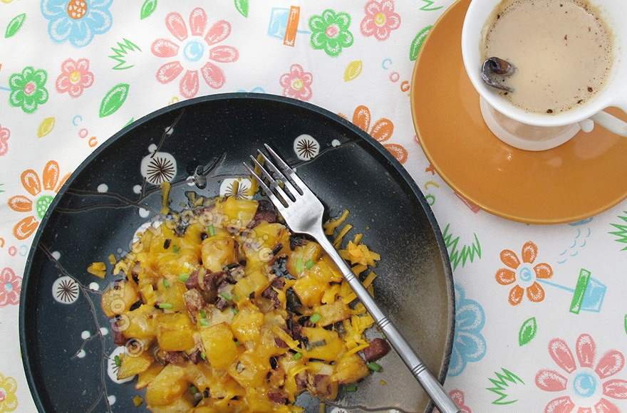 Mexican-style potatoes with chorizo and chili