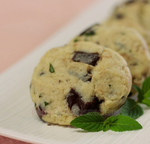 A unique way to blend well-loved flavors. I love mint and chocolate together but fresh mint in chocolate chip cookies is a first for me. Lovely!