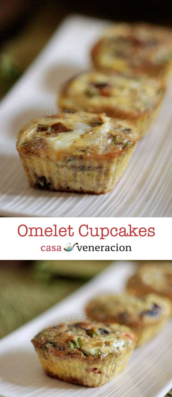 Omelet cupcakes are mini-omelets baked in muffin pans. Not for eye candy but to make them more portable and more convenient to handle. | casaveneracion.com