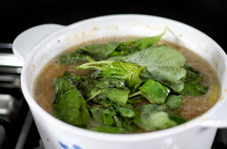 Stewed monggo (mung beans) with coconut cream