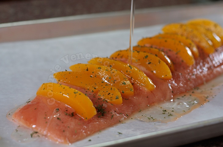 Baked salmon and peaches
