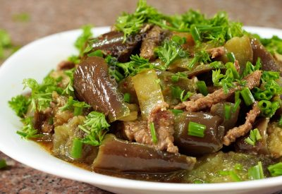Braised beef and eggplants in chili garlic sauce with ginger