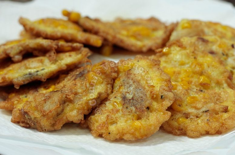 Fish and corn fritters