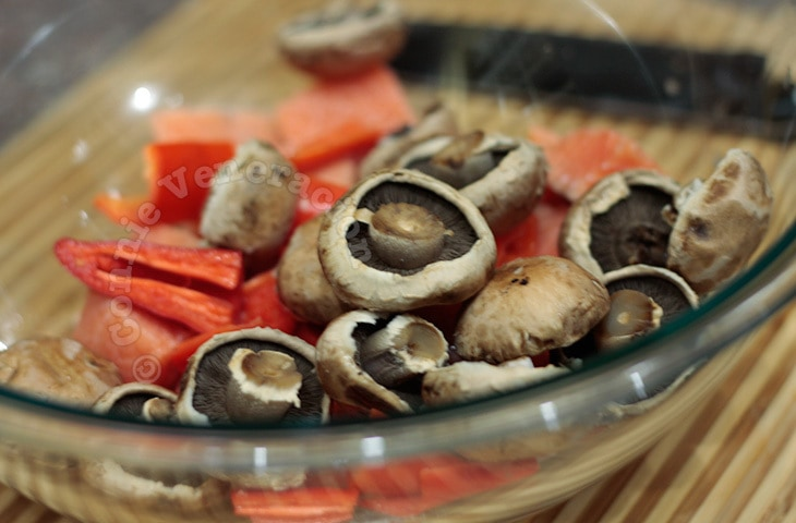 Salmon and portobello mushroom kebabs