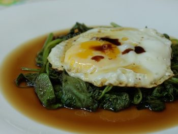 wilted spinach and fried egg