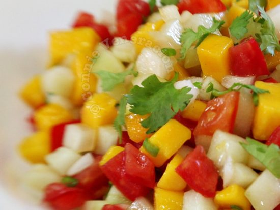 Mango, cucumber and tomato salad