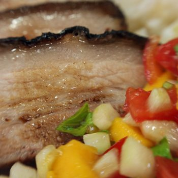 Drunken pork with mango salsa
