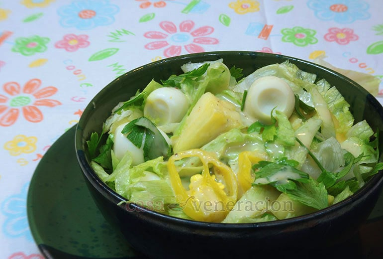 Made from salvageable items in the fridge and tossed in a home-brewed dressing, this lettuce, pineapple and quail egg salad is summery, fruity, citrusy and light. If you don't have quail eggs, you may substitute hard boiled chicken eggs, sliced or cut into wedges.