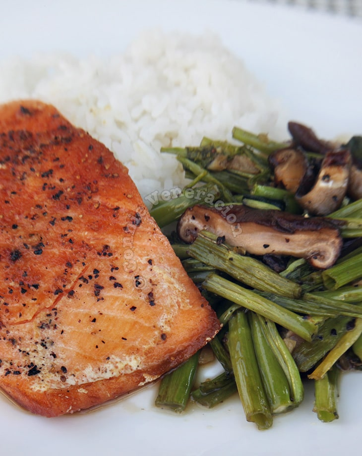 Pan-fried salmon with swamp spinach and shiitake stir fry