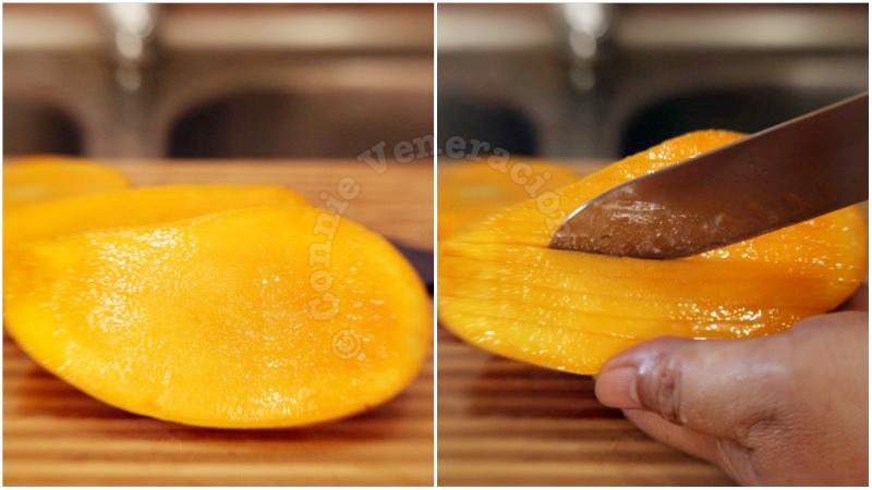 Sticky rice and mangoes with sweet coconut sauce (khao neaw mamuang) recipe, step 1: Cut the mangoes, discard the stones and slice the flesh thinly without cutting through the skin.