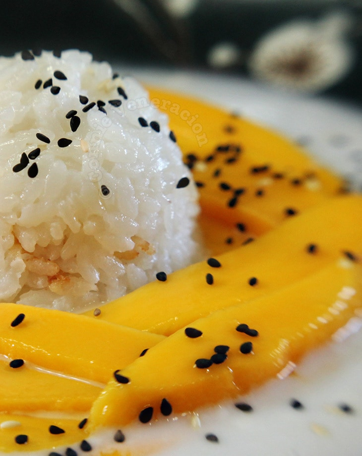 Sticky rice and mangoes with sweet coconut sauce (khao neaw mamuang)