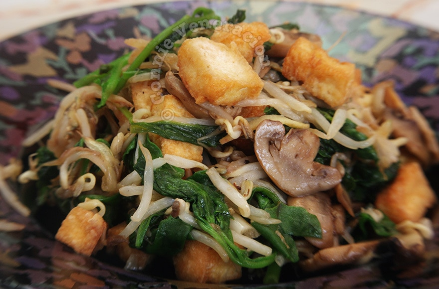Tofu and mushrooms with bean sprouts and spinach | casaveneracion.com