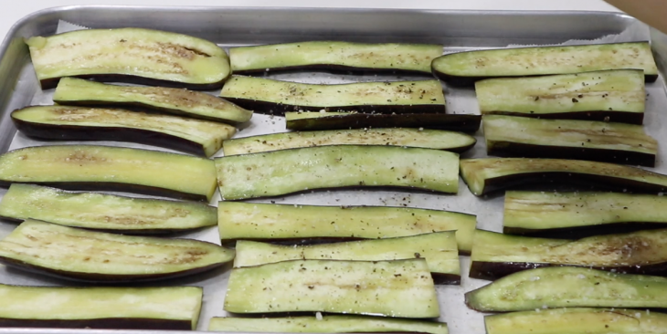 Prepping eggplants for moussaka