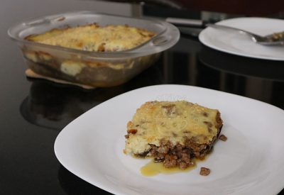 Moussaka (baked eggplants and beef with bechamel sauce)