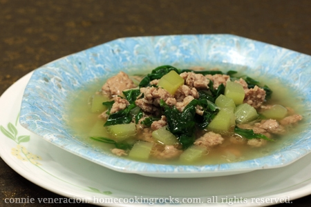 Ground pork, spinach and chayote soup
