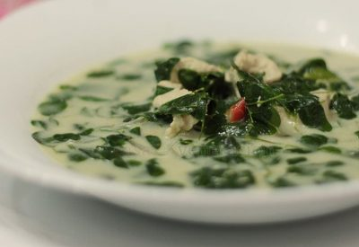 Strips of chicken breast fillets, chilis and malunggay (Moringa oleifera) in homemade broth thickened with coconut cream. Spicy, healthy, easy. Filling enough to be served as a main dish too.