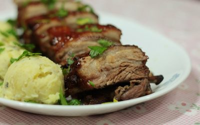 Roasted and grilled pork ribs