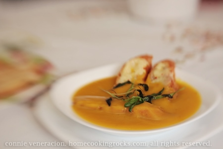 Squash soup with sage toasts