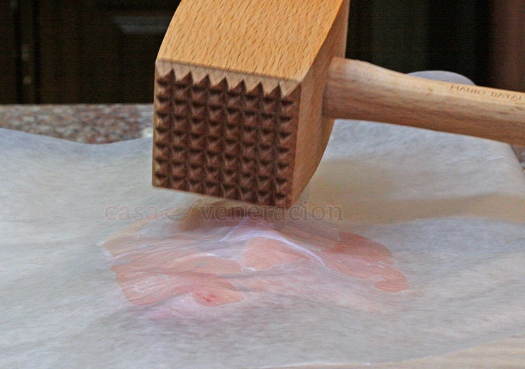 A wooden kitchen mallet