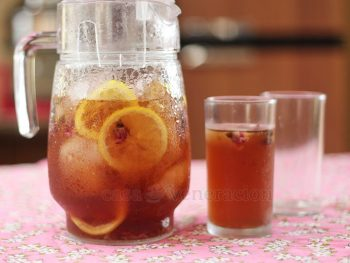 "Easy to prepare and lovely to drink, rose iced ""tea"" contains no caffeine because there are no real tea leaves in it!"