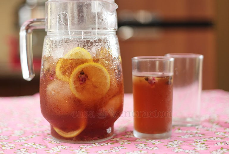 """Easy to prepare and lovely to drink, rose iced """"tea"""" contains no caffeine because there are no real tea leaves in it!"""