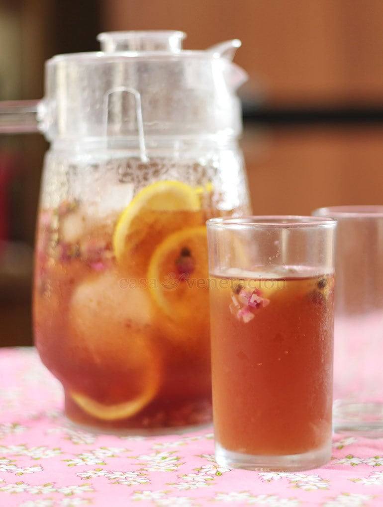 An infusion made with dried flower buds, rose iced