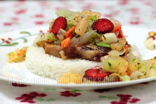 Rainy day cabbage, pineapple and strawberry salad