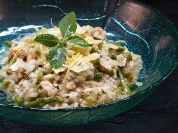 Asparagus, mint and lemon risotto