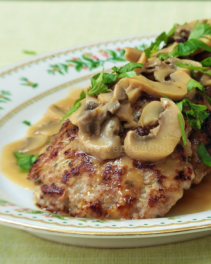 Burger (not Salisbury) steak with mushroom gravy
