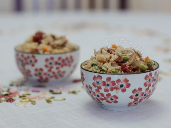 Microwave recipe: sausage and mushroom pilaf