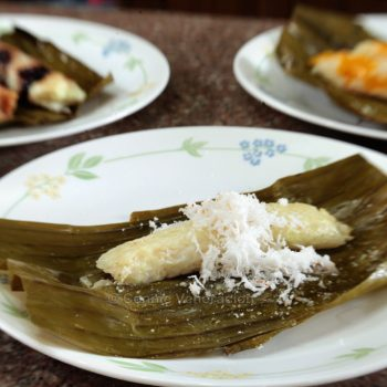 Suman (rice cake in a tube) in three flavors