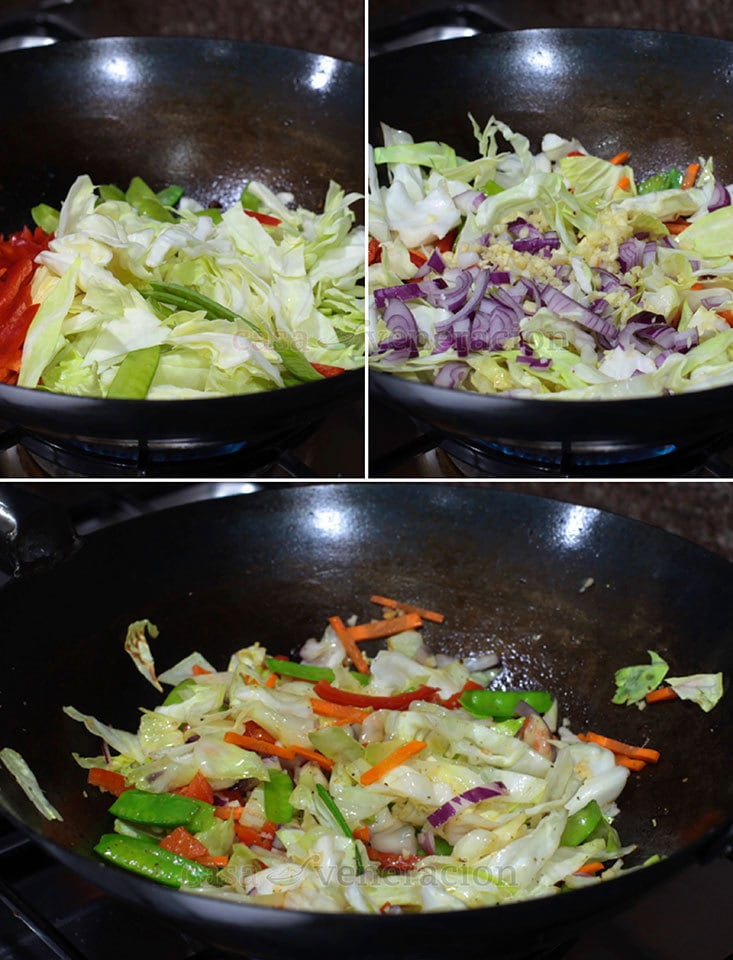 Pancit Canton (Filipino-style Chow Mein) Recipe, Step 2: Stir fry the vegetables