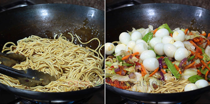 Pancit Canton (Filipino-style Chow Mein) Recipe, Step 4: Toss the noodles and vegetables with the sauce