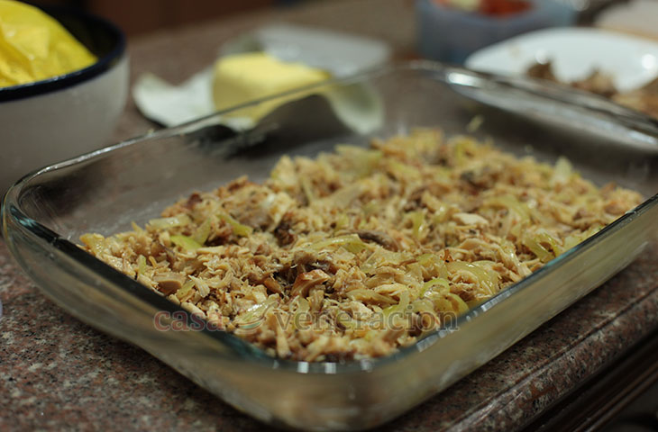 Holiday leftovers: Turkey, Duck and Potato Bake, Step 6: Pile sauteed turkey and duck on top of potatoes
