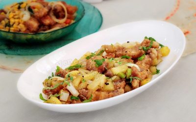Pork with pineapple, ginger and chilies