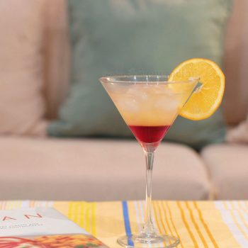 Tequila Sunrise is a layered drink. The denser Grenadine sinks to the bottom of the glass to mimic the red hues of sunrise while the paler juices emulate the lightening morning sky.