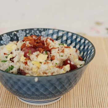 Chinese sausage fried rice with crisp fried shallots
