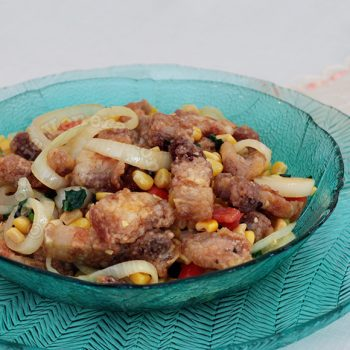 Crispy Fried Pork With Corn, Tomatoes and Basil