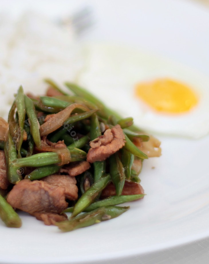 Pork and green beans with teriyaki sauce