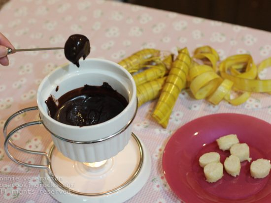 Chocolate fondue and suman (rice cakes)