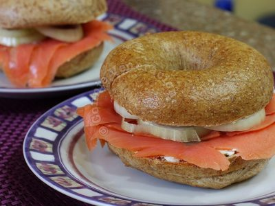 Whole wheat bagels with cream cheese and smoked salmon