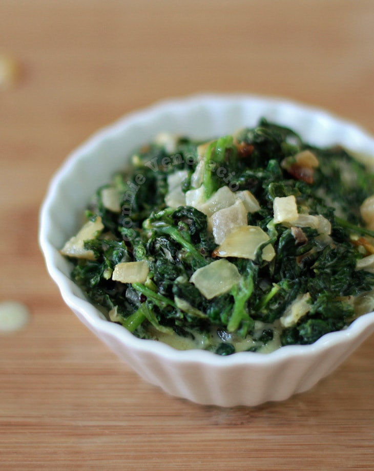 Lacto-vegetarian creamed spinach