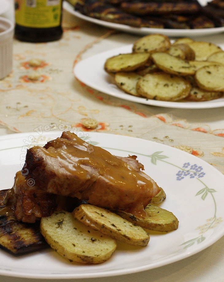 Grilled baby back ribs and potatoes