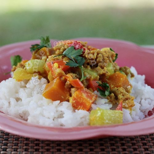 15-minute ground pork and vegetable curry
