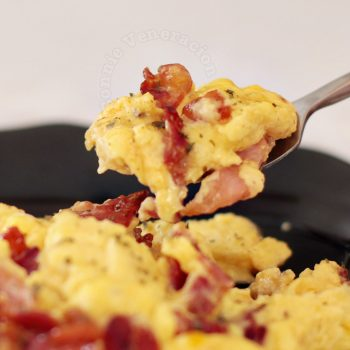The best brunch ever: scrambled eggs, pancetta and sausages