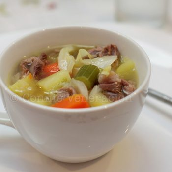 Welsh cawl (boiled lamb and vegetables soup)