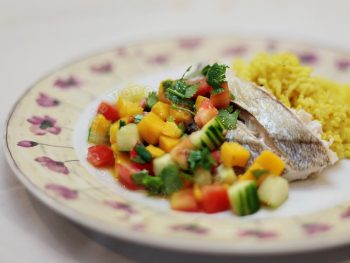 Baked Fish, Mango-Tomato Salad, and Turmeric-Coconut Rice