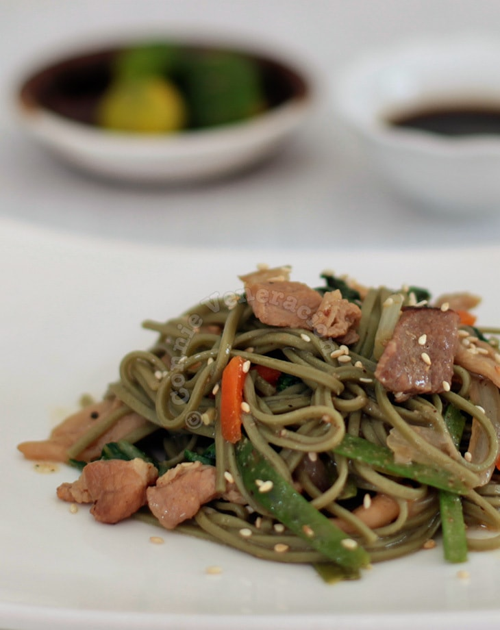 Cha (Green Tea) Soba With Miso Sauce