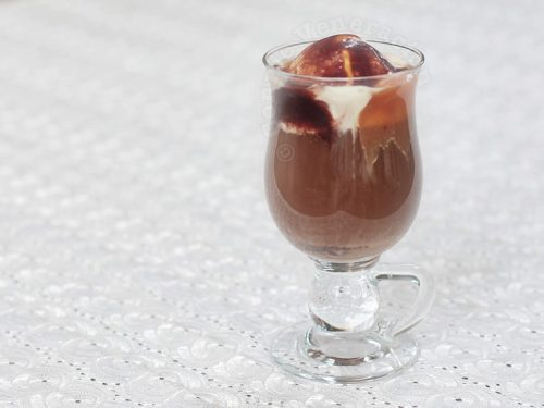 Chocolate caramel coffee float