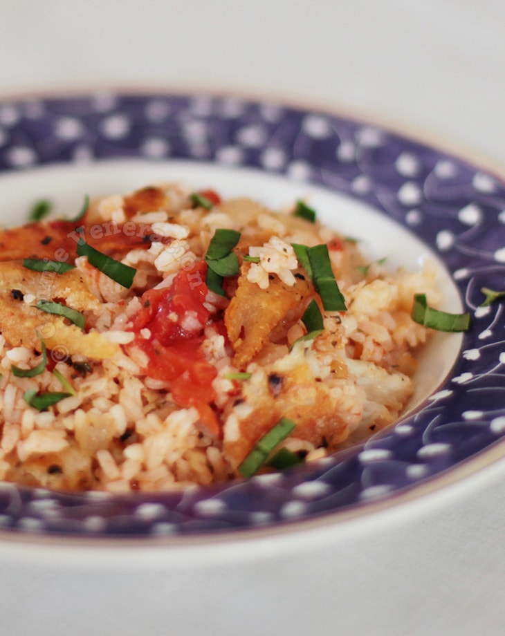 Crispy Fish With Tomato Rice